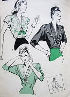 1940s STUNNING Plunging V Neckline Blouse Pattern BUTTERICK 3551 Three Beautiful Versions Day or Evening Blouses Bust 32 Vintage Sewing Pattern