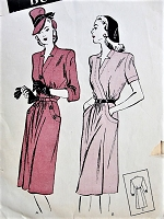 1940s CLASSIC Dress with Pockets Butterick 3635 Bust 32 Vintage Sewing Pattern