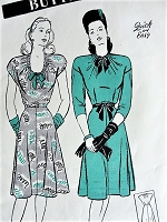 Vintage 1940s LOVELY Drawstring Neckline Dress with Flared Four-Gore Skirt Butterick 3728 Sewing Pattern Bust 32