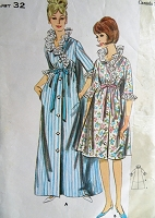 1960s PRETTY Robe,House Coat Pattern BUTTERICK 3770 High Waist Front Flowing Back Brunch Coat in 2 Lengths Bust 32 Vintage Sewing Pattern