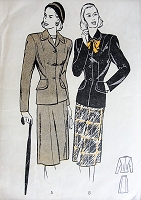 1940s Vintage CHIC Two Piece Suit with Six Gored Skirt Butterick 4011 Sewing Pattern Bust 32
