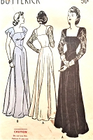 1940s BEAUTIFUL Evening Gown Pattern BUTTERICK 4115 Basque Bodice Dance Dress Portrait Square Neckline Pure Glamour Bust 34 Vintage Sewing Pattern