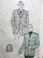 Vintage 1940s REFINED Men's Sports Jacket with Optional Collar Butterick 4186 Sewing Pattern Chest 44