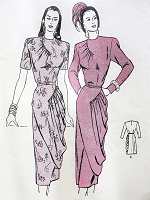 1940s STRIKING Cocktail Dinner Party Dress Pattern BUTTERICK 4341 Asymmetric Detail, Dramatic Pouch Drapery Skirt Bust 32 Vintage Sewing Pattern