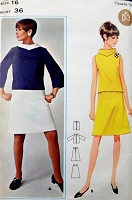 1960s MOD Quick n Easy 2 Piece Dress Pattern BUTTERICK 4400 Top with Contrast or Stand Up Collar, A Line Skirt and Top, Bell Shaped Sleeves or Sleeveless Bust 36 Vintage Sewing Pattern FACTORY FOLDED