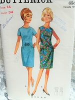 CUTE 1960s Dress Pattern BUTTERICK 4402 Figure Flattering Slim Dress With Curved Seams Bust 34 Vintage Sewing Pattern