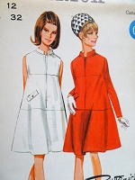 1960s MOD Tent Dress Pattern BUTTERICK Boutique 4404 Front Zip Tent Dress in 2 Versions Bust 32 Vintage Sewing Pattern FACTORY FOLDED