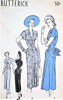 1940s GORGEOUS Party Cocktail Evening Dress Pattern BUTTERICK 4502 Film Noir Bustle Back Dress, Eyecatching Polonaise Drape Curves, Corset Style Midriff, Plunging Neckline With Lace Vestee, Bust 34 Vintage Sewing Pattern