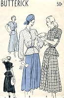1940s LOVELY Two Pc Dress Pattern BUTTERICK 4539 Flared Skirt, Peplum Top Pretty Style Details Bust 32 Vintage Sewing Pattern