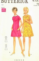 1960s CUTE A Line Dress Pattern BUTTERICK 4737 Jewel Neckline or Bias Collar Dress Size 8 Vintage Sewing Pattern