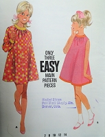 1960s MOD Girls TENT Dress Pattern BUTTERICK 4747 Size 7 Easy To sew Childrens Vintage Sewing Pattern