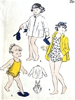 1940s PRECIOUS Toddler SwimSuit and Beach Coat Childrens Beachwear Pattern BUTTERICK 4833 Adorable Side Shirred Bathingsuit Cute Beach Jacket Size 4 Childrens Vintage Sewing Pattern