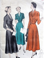 1940s STUNNINg Dress Pattern BUTTERICK 4978 Daytime or Dinner Party Cocktail Dress, Plunging Neckline Figure Flattering Bust 34 Vintage Sewing Pattern