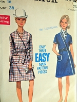 1960s MOD A Line Wrap Dress Pattern BUTTERICK 5048 Easy To Sew Dress,Bust 38 Vintage Sewing Pattern FACTORY FOLDED