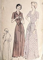 1940s BEAUTIFUL Housecoat  Brunch Robe Pattern BUTTERICK 5104 Two Flattering Necklines,Swirling Skirt. Bust 36 Vintage Sewing Pattern FACTORY FOLDED