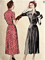 1940s STYLISH Dress with Plunging Neckline Butterick 5153 Bust 32 Vintage Sewing Pattern