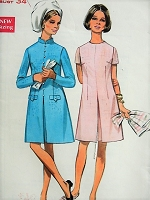 1960s MOD A-line Dress in Two Styles Butterick 5206 Bust 34