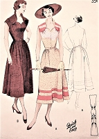 1950s LOVELY Portrait Neckline Dress Pattern BUTTERICK 5248 Day or Party Dress Quick n Easy  Bust 34 Vintage Sewing Pattern