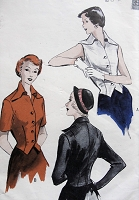 1950s Vintage STYLISH Tailored Blouse in Three Styles of Sleeves Butterick 5273 Sewing Pattern Bust 32