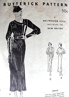 1930s CHIC Art Deco Dress Pattern BUTTERICK 5329 Stunning Couture Design Day or Evening Bust 36 Vintage Sewing Pattern