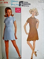 1960s MOD Prue Acton Dress Pattern BUTTERICK 5345 CUTE Scalloped Hemline Mini A Line Dress Bust 32 Vintage Sewing Pattern