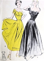 1950s GLAMOROUS Evening Formal Dress Pattern BUTTERICK 5368 Decollete Scalloped Neckline With Shirring, Two Lengths Bust 32 Vintage Sewing Pattern