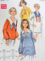 Vintage 1960s BREEZY Oversized Top with Sailor Style Collar Butterick 5406 Sewing Pattern Bust 34