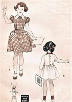 1950s PRETTY Girls Dress pattern BUTTERICK 5415 Puff Sleeves Full Skirt Dress Size 6 Childrens Quick n Easy Vintage Sewing Pattern