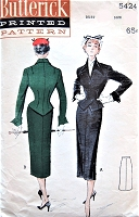 1950s STUNNING Suit Dress Pattern BUTTERICK 5424 Weskit Style Jacket Blouse, Nipped In Waist, Flattering Design, Pencil Slim Skirt Bust 36 Vintage Sewing Pattern