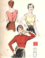 1950s CHIC Blouse Pattern BUTTERICK 5533 Two fab Styles Button Back Sleeveless or Long Sleeves Bust 34 Quick n Easy Vintage Sewing Pattern UNCUT