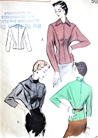 1950s SMART Detailed Blouse Pattern BUTTERICK 5538 Overblouse or Tuck In Seam Detail Bust 32 Vintage Sewing Pattern