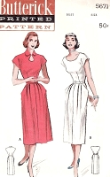 1950s KEYHOLE neckline Dress Pattern BUTTERICK 5671 Day or After 5 Party Dress Two Necklines Bust 34 Vintage Sewing Pattern FACTORY FOLDED