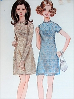Vintage 1960s SASSY Sheer A-Line Dress with Slip Butterick 5710 Sewing Pattern Bust 38