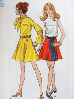 1960s Vintage FUN Dress with Full Skirt in two Styles with Sash or Scarf Butterick 5721 Sewing Pattern Bust 34