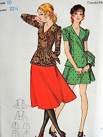 1960s RETRO Wrap Top with V Neck and Skirt Butterick 5870 Bust 32 1/2 Vintage Sewing Pattern