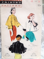 1950s CHIC Short Flare Back Jacket Pattern BUTTERICK 6040 Three Fabulous Versions Day or Evening Bust 34 Vintage Sewing Pattern