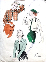 1950s FAB Boxy Bolero Jacket Pattern BUTTERICK 6041 Three Styles Bust 34 Vintage Sewing Pattern