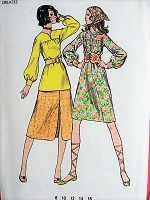 1970s RETRO A-line Dress, Top, Skirt Butterick 6130 Bust 32 1/2 Vintage Sewing Pattern