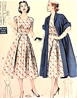 1950s FAB Dress and Redingote Pattern BUTTERICK 6130 Lovely Portrait Cutout Neckline Full skirted Dress, Cuffed Sleeve Elegant Coat Bust 36 Vintage Sewing Pattern