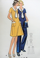 1970s Vintage CHIC A-line V Neck Dress or Top with Pockets, Scarf, and Pants Butterick 6150 Sewing Pattern Bust 32 1/2