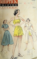 1950s FABULOUS Beach Weekend Wear Pattern BUTTERICK 6161 Coat Dress,High Waist Shorts and Bra Top Bust 32 Vintage Sewing Pattern
