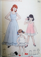 1950s ADORABLE Girls Ruffle Edged Slips and Panties Pattern  BUTTERICK 6201 Three Pretty Styles Size 10 Childrens Vintage Sewing Pattern