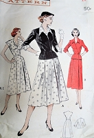 1950s LOVELY Dress and Fitted Jacket pattern BUTTERICK 6399 Wing Collar Cuffed Nip Waisted Jacket V Neckline Dress Bust 34 Vintage Sewing Pattern