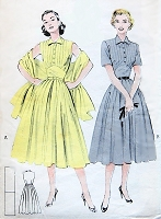 1950s ROCKABILLY Dress and Stole Pattern BUTTERICK 6433 Daytime or Party Tucked Bodice, Empire Waistline, Full Skirt Dress Bust 32 Vintage Sewing Pattern FACTORY FOLDED