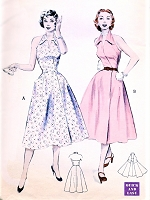 1950s SIZZLING Hot Wrap Around Halter Dress Pattern BUTTERICK 6478 Striking Wing Collar Day or Party dress Bust 32 Quick n Easy Vintage Sewing Pattern