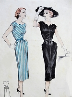 1950s GEOMETRIC Dress with Pockets Butterick 6508 Bust 30 Vintage Sewing Pattern