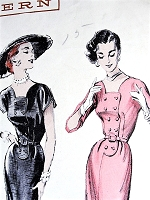1950s UNIQUE Tailored Slim Dress Pattern BUTTERICK 6543 Figure Flattering Double Breasted Dress, Low Scallop Neckline Bust 32 Vintage Sewing Pattern FACTORY FOLDED