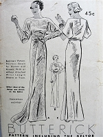 1930s RARE Gorgeous ART DECO Evening Gown Pattern BUTTERICK 6543 What A Beautiful Gown,3 Stunning Versions, Bust 32 Beginners Vintage Sewing Pattern
