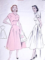 1950s LOVELY Wing Collar Dress Pattern BUTTERICK 6572 Day or Party Bust 32 Vintage Sewing Pattern