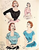 1950s LOVELY Blouse Pattern BUTTERICK 6618 Beautiful Blouses Variety of Necklines and Sleeves, Day or Evening Styles Bust 38 Vintage Sewing Pattern